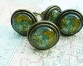 Map drawer pull, world map drawer pull, cabinet knobs, 1 pull