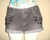 Black Denim/Jeans Shorts Cuffed Pants Embelished with Crystals
