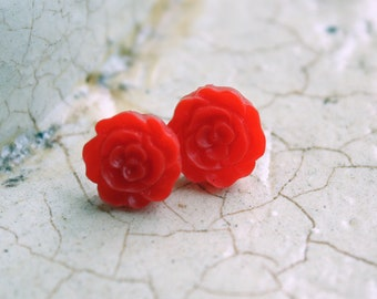 Ruffle Rose Earrings -- Red