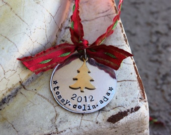 Family Holiday Ornament, Hand stamped with choice of star or tree charm