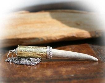Bullet Necklace, Genuine Deer Antler, Colt 45 Bullet Casing, Etched Flowers, Crystal, Sterling Silver Accents