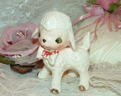 White Lamb Salt Shaker with Red Bow Tie and Gold hooves Hand Painted Japan