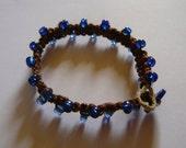 Hemp Braided bracelet with blue beads