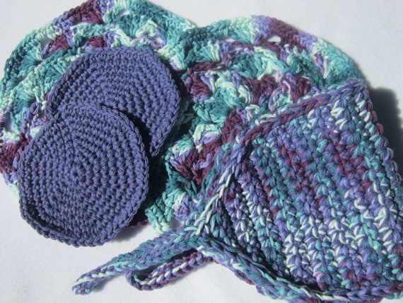 50 Percent Off Crochet Spa Set - Wash Cloths, Facial Cloths and Back Scrubber ON SALE