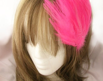 Hot Pink feather fascinator headband, comb, or hair clip - fascinator millinery supply blank base