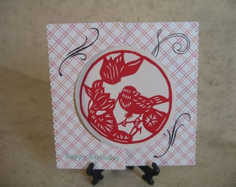 One Happy Birthday Flip Card with paper cutting design
