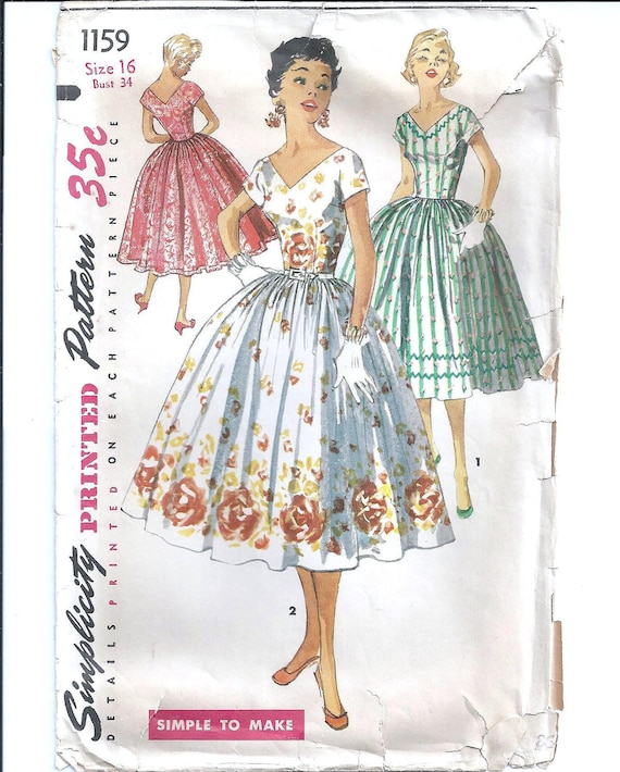 1950s Womens Day Dress with Full Skirt - Vintage Sewing Pattern Simplicity 1159 - 34 Bust