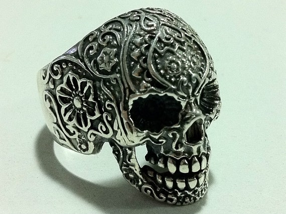 sugar skull pack FLOWER FINGER punk sterling silver biker OUTLAW ring all size that you want