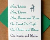 Green Purple Sasha and Malia Letterpress Holiday Card - Set of 5 Cards