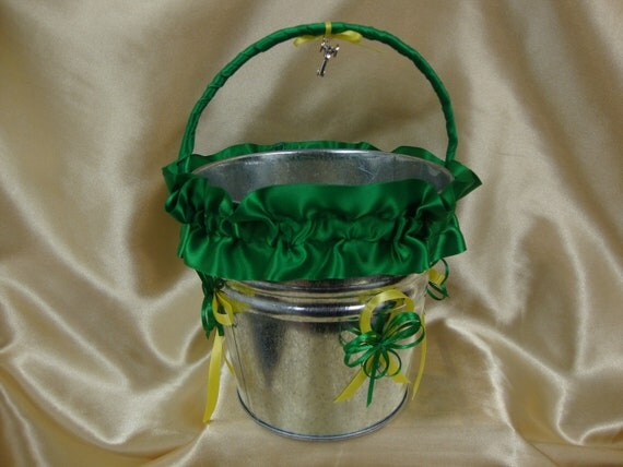 Farm Colors Green and Yellow Trimmed Flower Girl Basket, Flower Girl Bucket, basket, bucket, tractor, rural, unique,