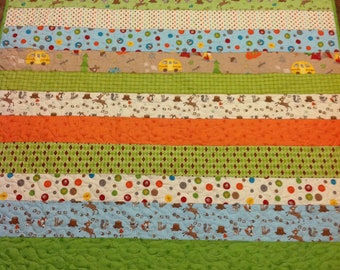 Fox Trails Striped Baby Boy or Girl Crib Quilt -- brown, orange, green, blue -- camping, animals