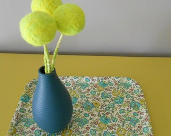 Neon Yellow Flowers - Neon home decor - Ombre - Pompom bouquet - Wool felt round ball blooms - Fluorescent home decor- Large pom pom flowers