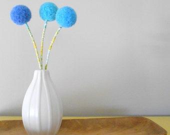 Yarn pom pom felt flowers.  Cobalt blue, turquoise, sea blue.  Felted wool balls.  Boys room Nursery decor. Faux flower bouquet. Sputnick