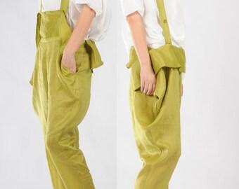 Pale green cotton harem pants