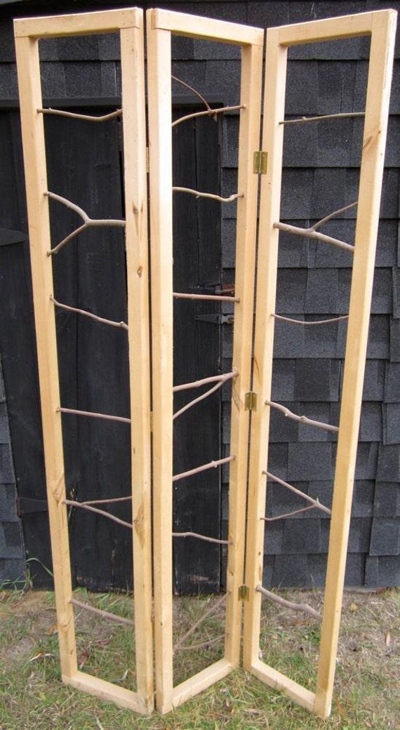 Rustic twig room divider screen