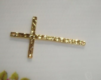Sale, 6% off 6 pcs Skinny Hammered Sideways Cross Connector, 18k Gold Plated Sterling Silver, 28x17mm