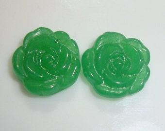 Emerald Green Quartz Crafted Flower Cabochon, 14x4m, 4 pcs - clearance sale - 50% off