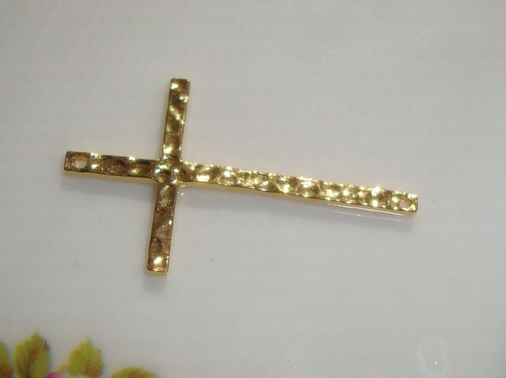 6% off 3 pcs, sale, Skinny Hammered Sideways Cross Connector, 18k Gold on Sterling Silver, 28x17mm