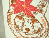 Letterpress Christmas Holiday Card - Poinsettia Fox