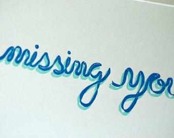 SALE - Missing You Letterpress card - Ribbon