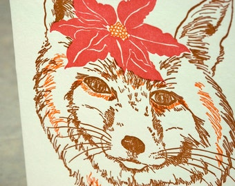 SALE - Letterpress Christmas Holiday Card - Poinsettia Fox - 60% off