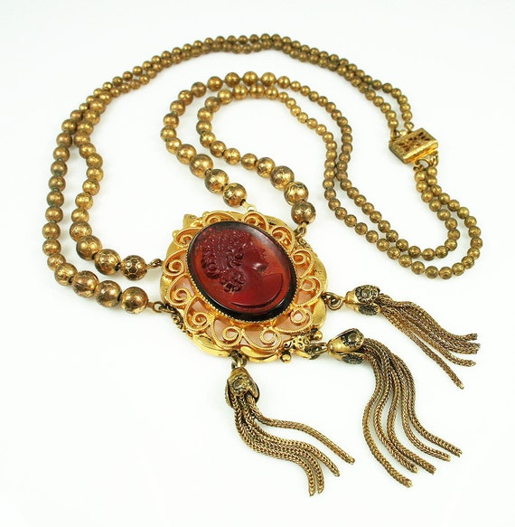 Vintage Amber Glass Reverse Intaglio Cameo Festoon Necklace