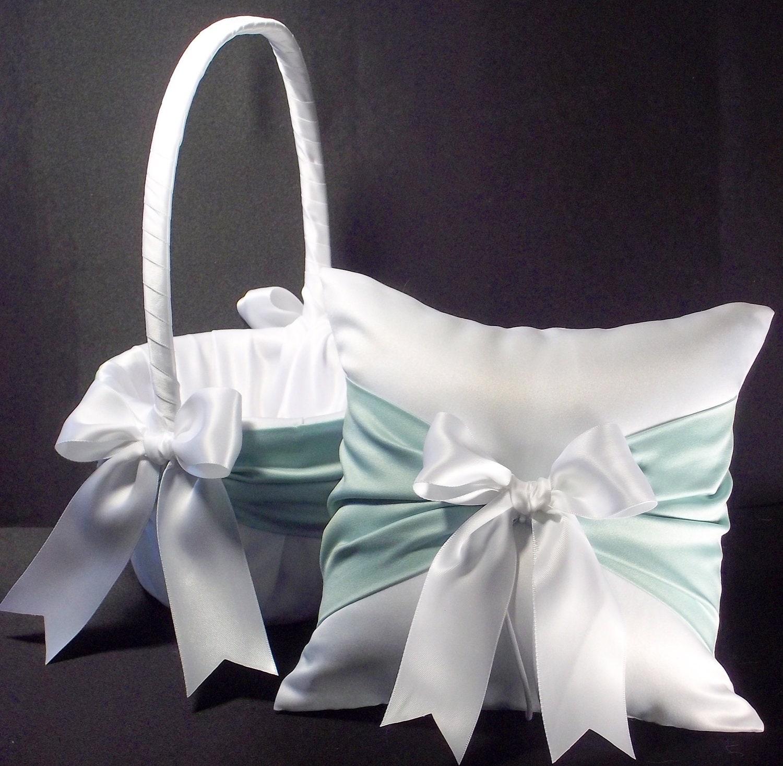 Flower Girl Baskets And Matching Ring Bearer Pillows : White or ivory wedding piece set ring bearer pillow flower