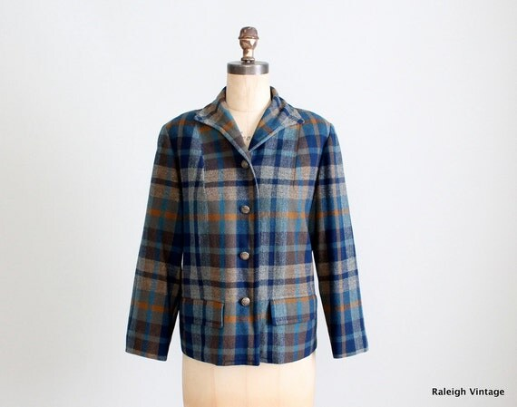 Vintage 1940s Jacket : 40s 50s Pendleton Plaid Coat