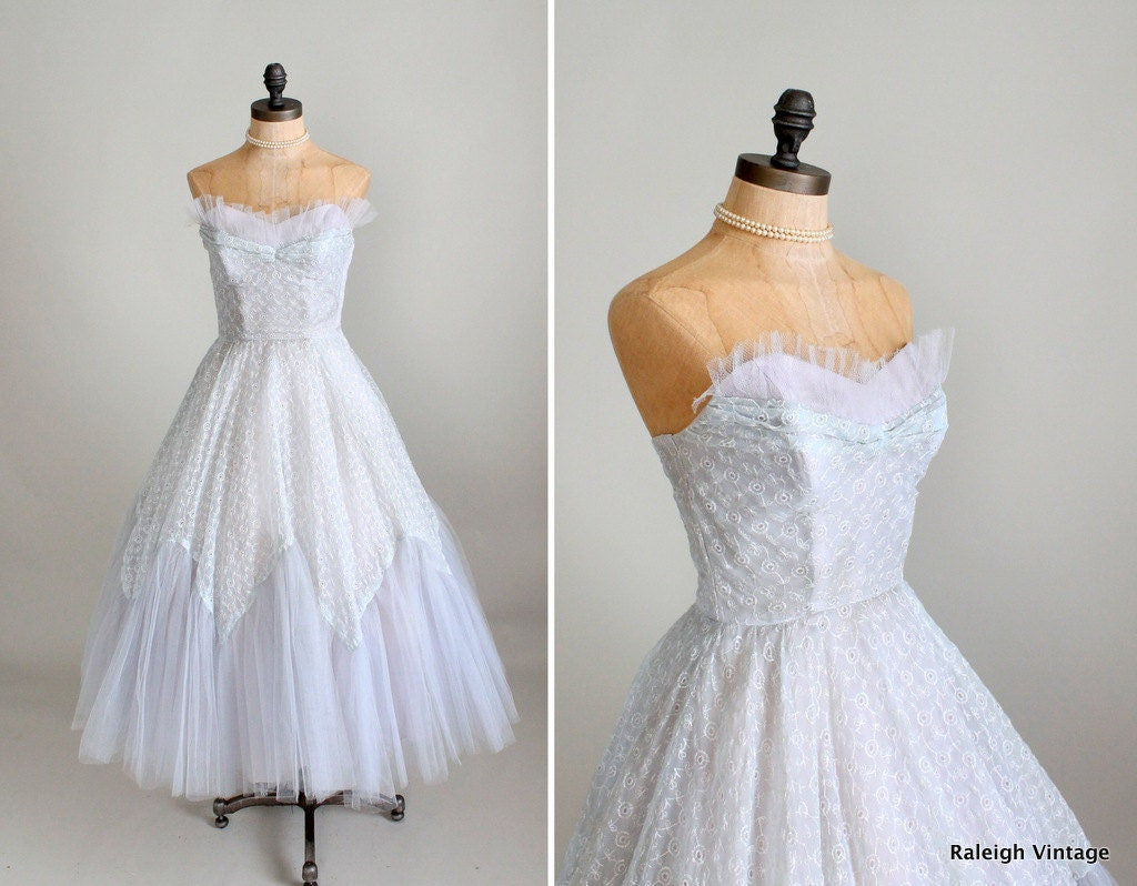 Vintage 1950s Prom Dress 50s Ice Blue Tulle and Lace Prom