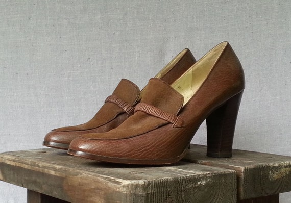70s Givenchy Pumps Brown Leather Loafer Oxford Elastic Toe Strap High Heels Paris Italian Size  Us 8 /Uk 6 / EU 38