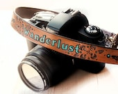 Wanderlust Leather Camera Strap - Travel - Personalize with accent color and hardware - Compass Rose - Custom Made to Order by Mesa Dreams