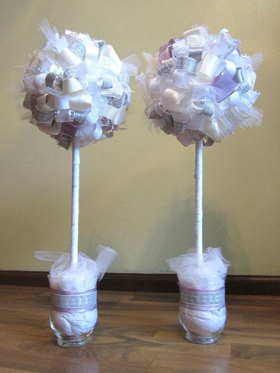 White silver cream and light purple ribbon topiary set