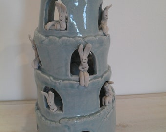 Rabbit Tower of Pisa -Rabbit & Bunny Tower -Celadon on Porcelain