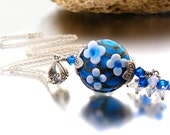Floral Lampwork Necklace, Flower Glass Necklace, Azure Blue Glass Bead Pendant Necklace, Turquoise Necklace, Sterling Silver Jewelry