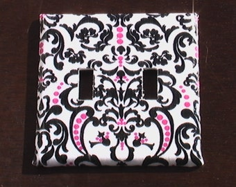 Damask Black and Pink on White Double Toggle Light Switch Plate Cover