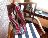 SALE-Multicolor Plaid Flannel infinity Scarf-Magenta, Green, Teal, Purple