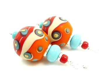 Orange Red & Turquoise Earrings, Lampwork Earrings, Glass Earrings, Glass Bead Earrings, Southwestern Earrings, Southwest Jewelry, Unique