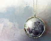 Twilight Full Moon. Handmade Pendant Necklace. Sterling Silver Oxidized Chain. Moon Jewelry. Large