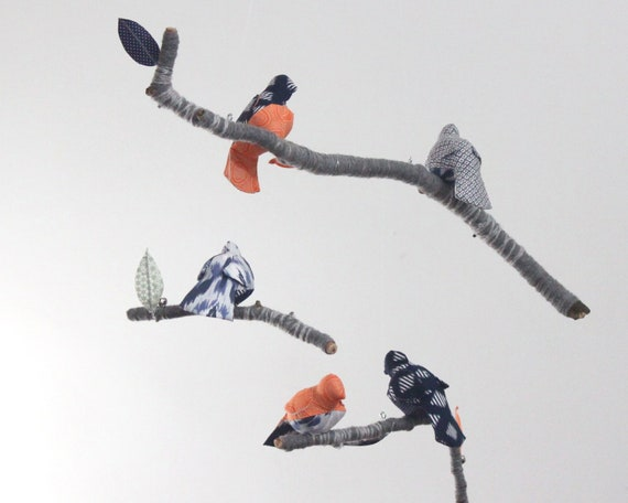 Bird Mobile - Children Nursery Decor - fabric sculpture on yarn wrapped branches in navy, monaco blue, gray, orange, and white