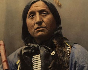 Left Hand Bear Sioux 1899 color image reproduction print 8 1/2 x 11 art image indian  native american