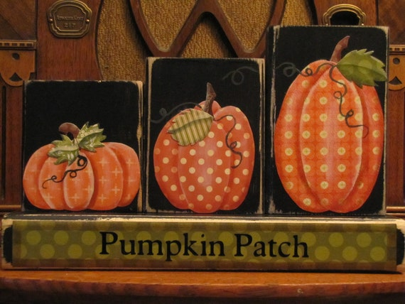 Pumpkin Patch Blocks Fall and Thanksgiving Decor Sign