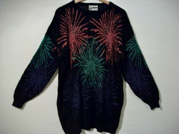 Vintage 80s 90s oversized sweater with fireworks - FREE shipping worldwide