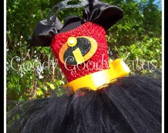 INCREDIBLY DASHING Incredibles Inspired Tutu Dress with Sparkly Felt Eyemask - Medium 2/3T
