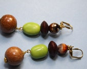 """RESERVED vblessed  3"""" L Gaspeite stone, Dragon Agate stone, Palm nut wood,  dangle earrings"""