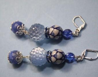 "3"" 1/4 L Blue Jeans 6 blue n white porcelain, blue dragon fire agate stones, dangle, drop earrings"