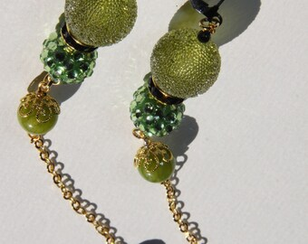 "Apple Green dangle, duster, earrings, green jade, resin, rhinestone, 6"" L"