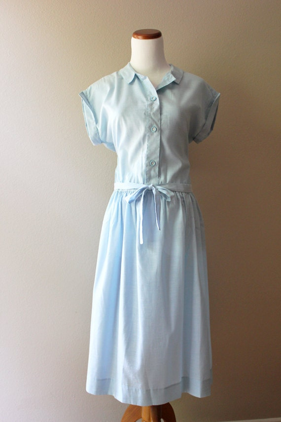 Vintage 1950s Light Blue Dress // Wendy Darling MEDIUM