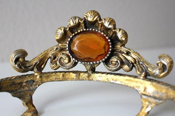 Elegant Vintage Soap Dish // Golden Amber Sunrise