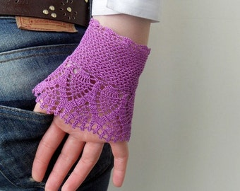 Gothic Gloves,Victorian Gloves, Lace Gloves, Purple Amethyst, Crocheted Gloves, Pearl Buttons, Bridesmaid Gift, Fall Wedding
