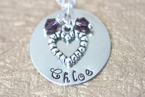 Columbus Day SALE - Lovely Heart Necklace with Handstamped Childrens Name